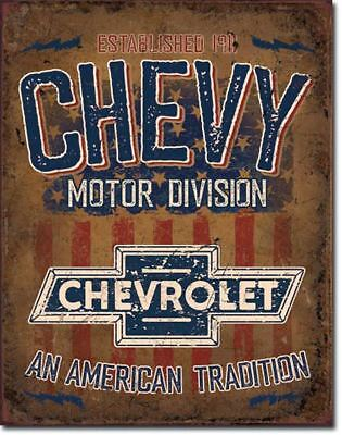 CHEVY Motor Chevrolet Truck Garage Parts Vintage Metal Tin Ad Sign Decor Gift