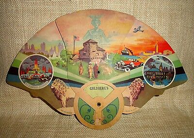 Rare 1930s CHICAGO IL Art Deco CARDBOARD Paneled FAN Advertising Goldberg's 34th