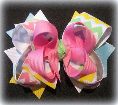Pastel Chevron Stacked Boutique Girls Hair Bows Baby Headband Easter Hairbows
