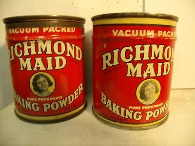 Lot Of 2 Richmond Maid Baking Powder Tin Nos Unopen Free Sample & Tin Bank