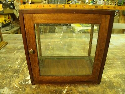 Antique Small Oak Country Store Counter Top Showcase