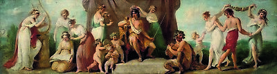 """After KAUFFMAN """"Apollo and Muses on Mount Parnassus"""" GREEK myth delphi CANVAS"""