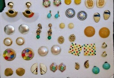 Lot of 22 Pairs Clip~on and Screw~back Earrings  VINTAGE  RETRO