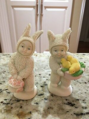 "Dept 56 SNOWBUNNIES set of 2  "" A BASKET OF JOY ""& ""A BASKET OF CHEER"""