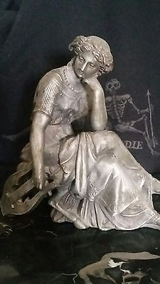 Antique Victorian Spelter Pot Metal Thinking Woman Lyre Clock Statue Mourning LG