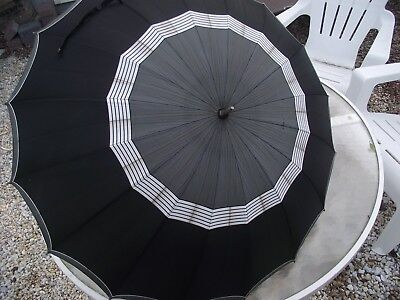 Lovely Vintage Medium Sized, Multi Colored Umbrella With A Nice Metal Handle