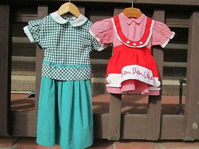 Lot of 2 Vintage 1950-60's Clothing Children's Dresses-Checkered- Red & Green
