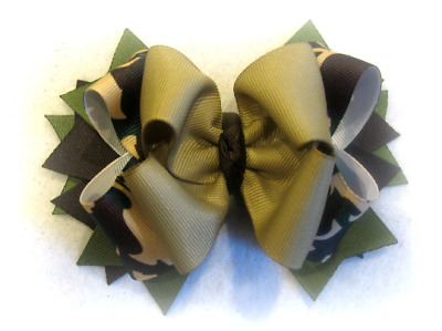 Camo Hair Bow Camoflage Hairbow Army Green Military Bows Airforce Boutique Bows