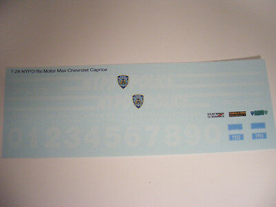 NYPD 1:24 Water Slide Decal set. Fits M.M.1993 Chevrolet Caprice