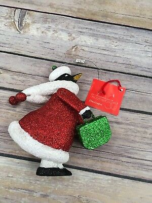 "Retired Dept. 56 Handcrafted ""All Around The Town"" Penguin Ornament Shopper"