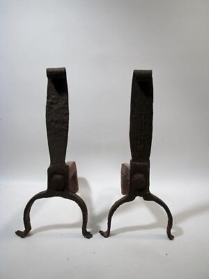 Antique Pair Hand Forged Rustic Iron Andirons Firedogs Colonial