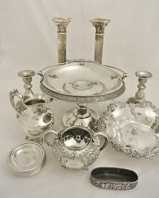 Lot Silver Plate Candelabra Candle Holders Brides Basket Embossed Repousse Bowl