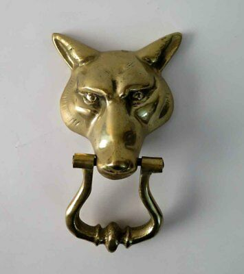 Vintage Large and Heavy Brass Wolf / Fox Door Knocker