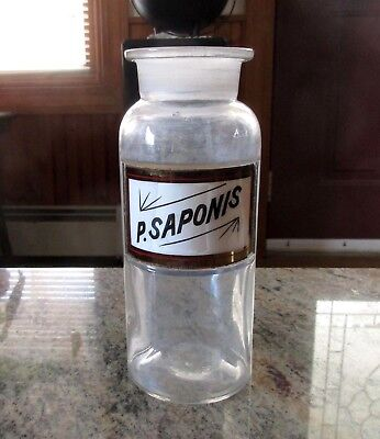 "Antique Whitall Tatum Co. Glass Apothecary Bottle - Label ""P. Saponis"""