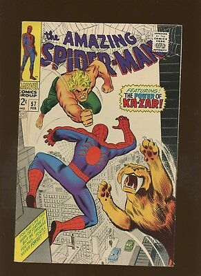 Amazing Spider-Man 57 FN/VF 7.0 * 1 Book Lot * Coming of Ka-Zar by Lee & Romita!
