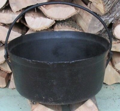 Antique Vtg 75lb Large Cast Iron Kettle approx.20 to 25 Gal. Garden Planter Pot