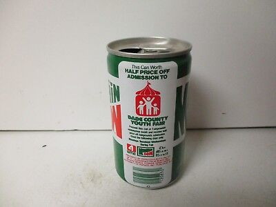 1985 Mountain Dew Dade County Youth Fair ad extruded steel soda can.