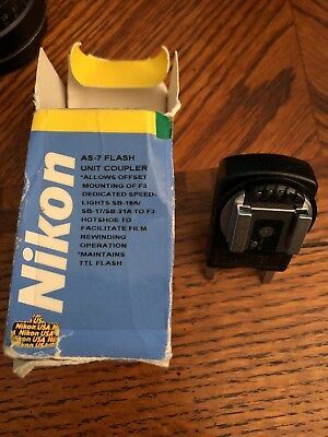 Nikon AS-7 TTL Flash Unit Hot Shoe Coupler for F3 in box AS7 EXC+