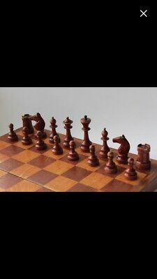 Antique Vintage Wood Soviet Union Russian Chess Set - All Pieces included
