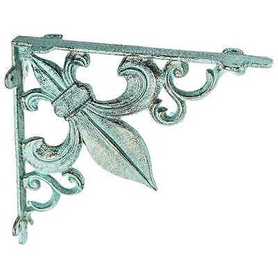 TWO Large Antique Green Fleur-De-Lis Wall Bracket.