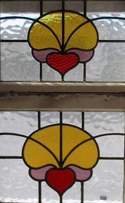 A Pair Of Antique Jeweled Stained Glass Windows