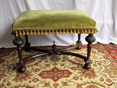 Antique Ornate Victorian Jacobean Solid Wood Upholstered Bench, Gorgeous!!