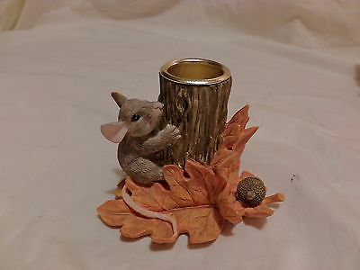 Charming Tails Stump Candleholder Sitting Vintage Rare Signed 85/516 Griff(T11)