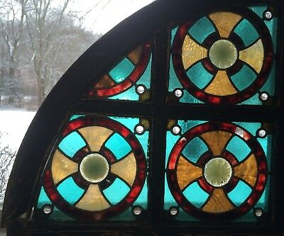 Authentic American Stained Glass Window Transom Antique Upper East Side NYC