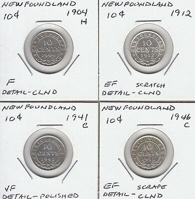 Newfoundland lot of 4 different 10c silvers 1904H-1946C