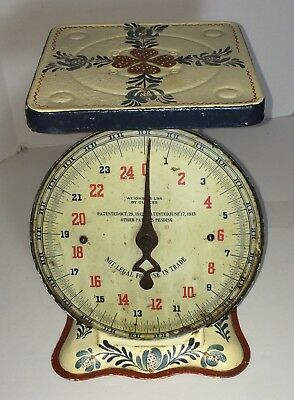 Vintage Hand Painted Early 20c. Folk Art Style Antique Kitchen Farm Scale