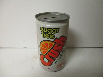 1985 Sugar Free Crush Orange coin bank soda can.