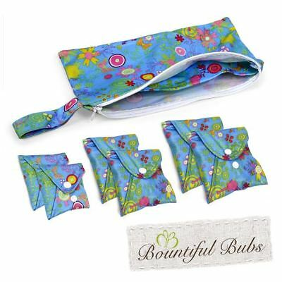 Washable, Reusable Bamboo Cloth Pads Essentials Pack. Summer Garden. Bountiful B