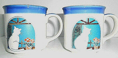 Pair Vintage OTAGIRI Mugs Cups Kitty Cat Sitting In Window Hand Ptd Japan  EUC