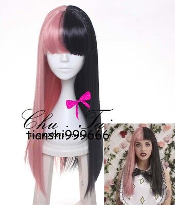 Melanie Martinez long Straight Black pink Color Synthetic Hair Wigs For Women