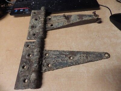 Antique Iron Lot Of 2 Chippy Paint Barn Door Hinges Barn Architectural Salvage!