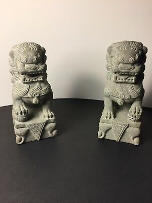 Pair Of Chinese Hand Carved Gray Stone Foo Dog Statue