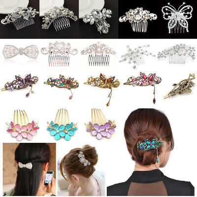 Crystal Hair Clips Hairpin Rhinestone Retro Flower Girls Fashion Comb Butterfly