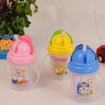 AU Baby Feeding Bottle Straw Cup Cute Pattern Drinking Bottle Sippy Cups Handles