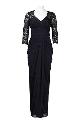 Adrianna Papell Floral Lace Sleeve Cutout Draped Jersey Mesh Dress Ink Black