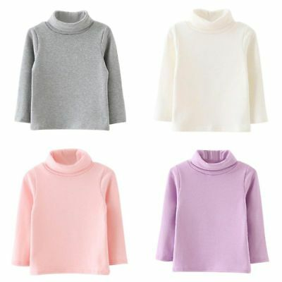 9-48M Kids Baby Girls Long Sleeve Turtle Neck Sweater Shirt Blouse Pullover Tops