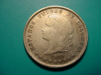 Columbia~ Silver 1875 50-Centavos in Very Nice Condition!