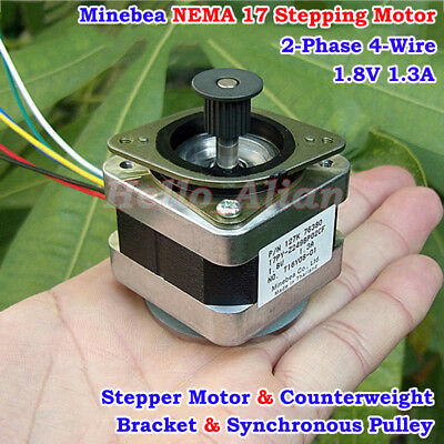 Minebea NEMA 17 2-phase 4-wire Stepper Motor Pulley DIY 3D Printer CNC RepRap