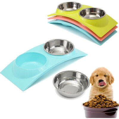 Cute Double Pet Dog Cat Stand Bowl Puppy Food Water Feeder Feeding Dish+Holder