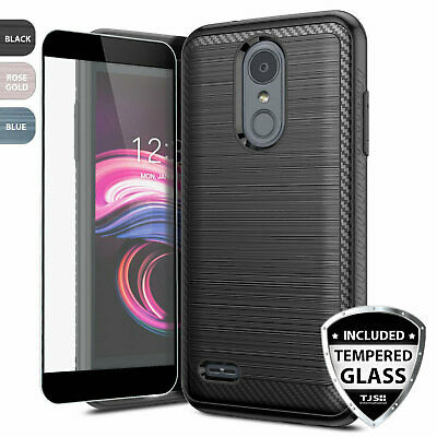 For LG Rebel Phoenix 4/3/Aristo 2/3 Plus Brushed Phone Case+Black Tempered Glass