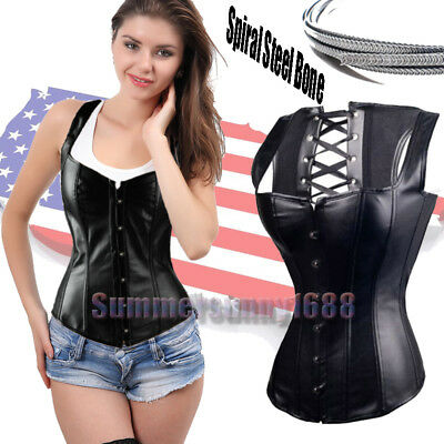 Women Punk Corset Top Bustier Lingerie Waist Cincher Trainer Shaper Plus Size AU
