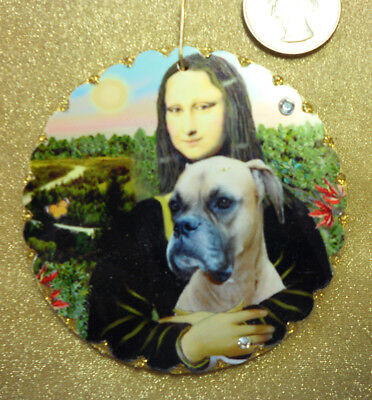 Ornament: Mona Lisa with her Natural Eared Boxer