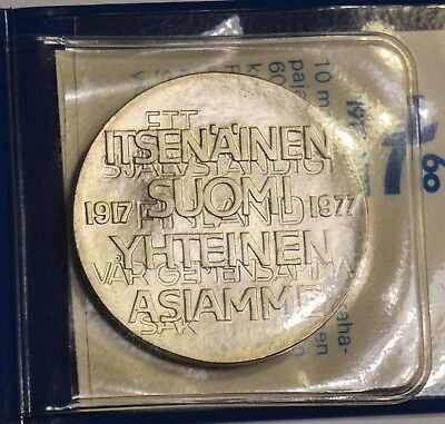 Finland Silver 1977 60th Anniversary of Independence 10 Markkaa KM# 55