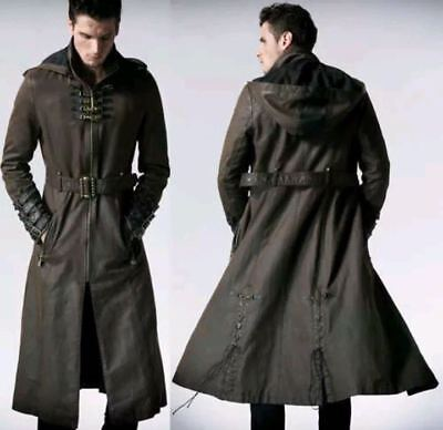 Men's Leather Hooded Steampunk Gothic Military Trench Coat