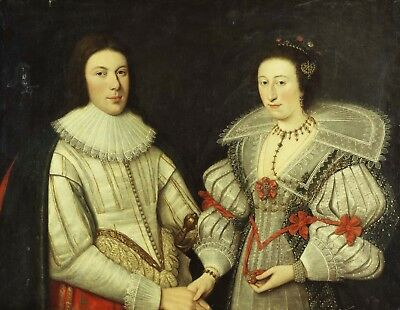 """SCOTTISH SCHOOL """"Portrait of a Gentleman and his Wife"""" DOUBLET white ruff NEW!"""