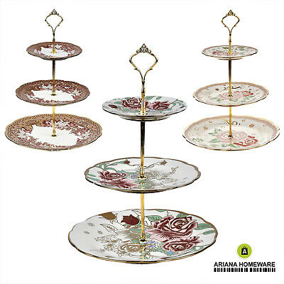 3 Tier Vintage Floral Ceramic Display Cake Stand Food Platter Rack Gift Wedding